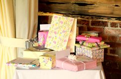 Rustic Presents. Display of  presents on a table with rustic background Stock Image