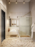Rustic Provence Loft Bathroom Shower WC Room Stock Image