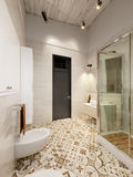 Rustic Provence Loft Bathroom Shower WC Room Stock Photography