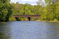 Rustic Railroad Bridge Over River Royalty Free Stock Photography