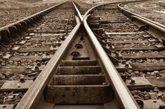 Rustic Railroad Track splitting lanes Royalty Free Stock Photos