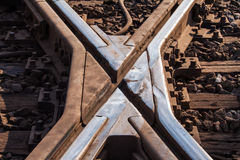 Rustic railway crossing close up Royalty Free Stock Images