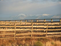 Rustic ranch fence. At dawn Stock Photography