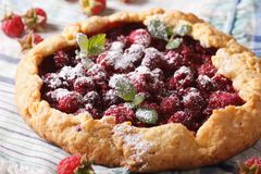 Rustic raspberry pie with mint close up on the table. Horizontal Stock Images