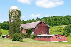 Rustic red barn during Spring in New York Stock Image