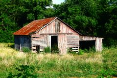 Rustic Red and Gray Slatted Barn Royalty Free Stock Image