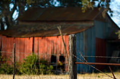 Rustic, Red, Texas Tool Shed. Old tool shed in need of repair shines brightly in the evening light along a Texas rural highway Royalty Free Stock Photo
