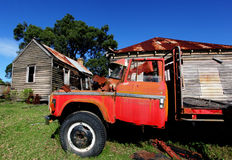 Rustic red truck Royalty Free Stock Images