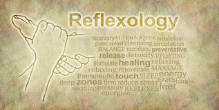 Rustic Reflexology Word Cloud Banner. Outline illustration of a pair of hands holding a foot beside a reflexology word cloud on a sand colored parchment stone Royalty Free Stock Photography