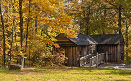 Rustic rental cabin. This beautiful rustic rental cabin at french creek state park is nestled among the fall foliage stock photography