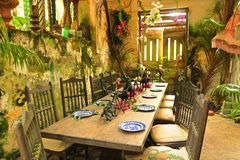 Rustic restaurant in Barbados, Caribbean Stock Photo
