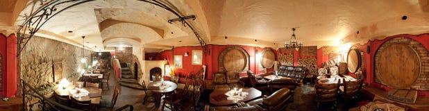 Rustic restaurant interior. 360 degrees panorama of rustic restaurant interior, basement, wine barrels theme Stock Photo