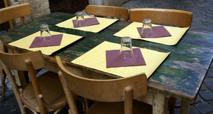 Rustic restaurant table Stock Photography