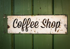 Rustic Retro Coffee Shop Sign Stock Image
