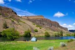 Rustic River Camp royalty free stock images