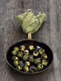 Rustic roasted brussels sprout Stock Photo