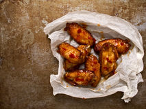 Rustic roasted buffalo chicken wing Stock Image
