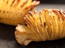 Rustic roasted hasselback potato gratin Stock Photography