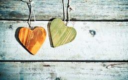 Rustic romantic hearts stock image