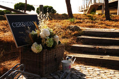 Rustic Romantic Summer Set - Wedding Cerimony Black Board Sign Royalty Free Stock Photo