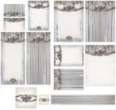 Rustic romantic weathered wood and brass rose embellishment wedding invitation set Stock Image