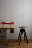 Rustic room with crate table Royalty Free Stock Photo