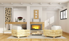 Rustic room with fireplace. And two pallet armchair - 3D Rendering Stock Images