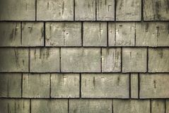 Rustic rough wood shingle background with greenish hue and spots of white paint.  royalty free stock images