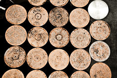 Rustic Round Tables Together Stock Images