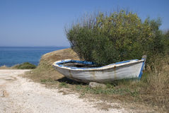Rustic Rowboat Stock Photo