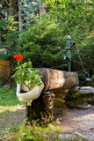 Rustic rural water pump with flowers Stock Photos