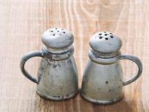 Rustic salt and pepper shaker stock photography