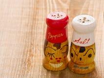 Rustic salt and pepper shaker stock image