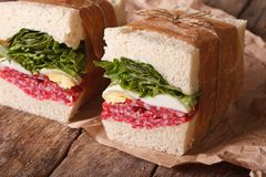 Rustic sandwiches with salami, lettuce and eggs horizontal Stock Image