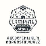 Rustic sanserif font and camping emblem Stock Photos