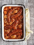 Rustic sausage casserole Stock Image