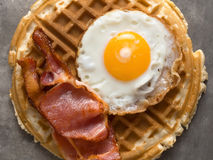 Rustic savory bacon and egg waffle Stock Photo