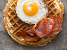 Rustic savory bacon and egg waffle Royalty Free Stock Photography