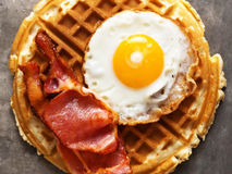Rustic savory bacon and egg waffle Stock Image