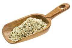 Rustic scoop of hemps seeds Stock Images