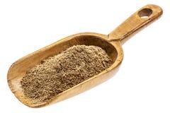 Rustic scoop of noni fruit powder Royalty Free Stock Photos