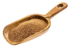 Rustic scoop of teff grain Royalty Free Stock Photography