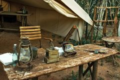Scout tent, exhibited at Terra Natura. Rustic scout camp where they do their experiments and research, recreated in a special way at the entrance to the zoo of royalty free stock photo