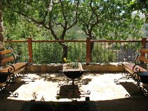 Rustic Seating Area, Lebanon. A rustic balcony seating area in front of Gebran`s place in Bsharri, Lebanon stock photography