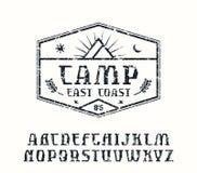 Rustic serif font and camping emblem Stock Photo