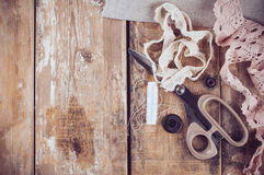 Rustic sewing background Royalty Free Stock Photography