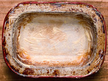 Rustic shabby buttered  pie pan Royalty Free Stock Images