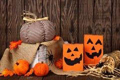 Rustic shabby chic Halloween decor scene. Rustic shabby chic Halloween decor against an old wood background Stock Photography