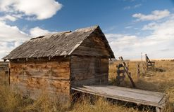 Rustic shed 2. Old wooden shed on the prairies Royalty Free Stock Photography