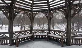 Rustic Shelter In Central Park Stock Image